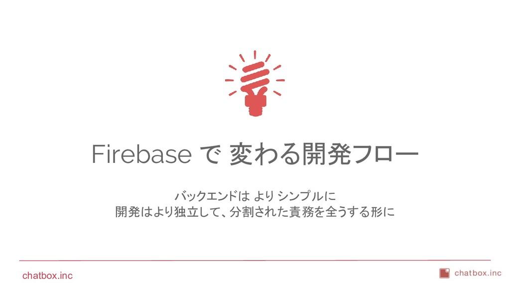 chatbox.inc Firebase で 変わる開発フロー バックエンドは より シンプル...