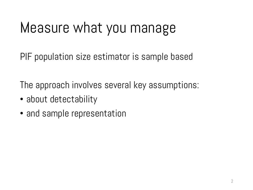 Measure what you manage PIF population size est...