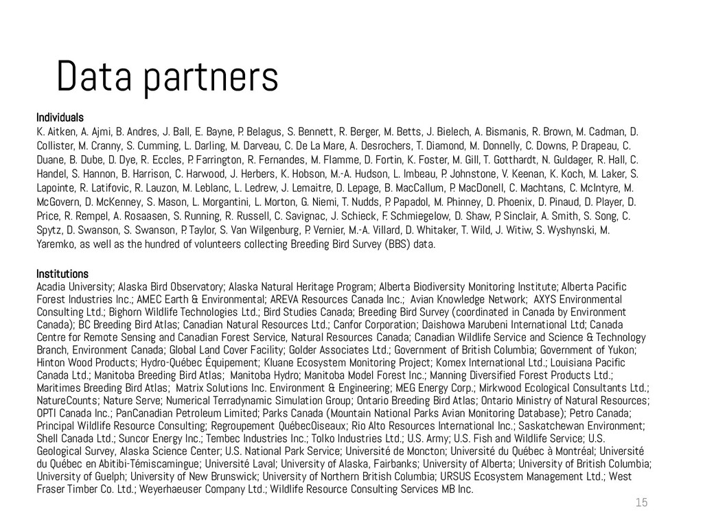 Data partners 15 Individuals K. Aitken, A. Ajmi...