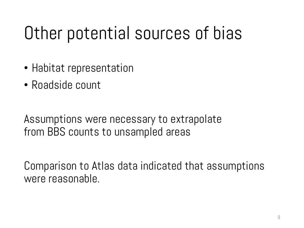 Other potential sources of bias • Habitat repre...