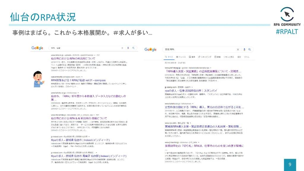 #RPALT 仙台のRPA状況 9 事例はまばら。これから本格展開か。#求人が多い…
