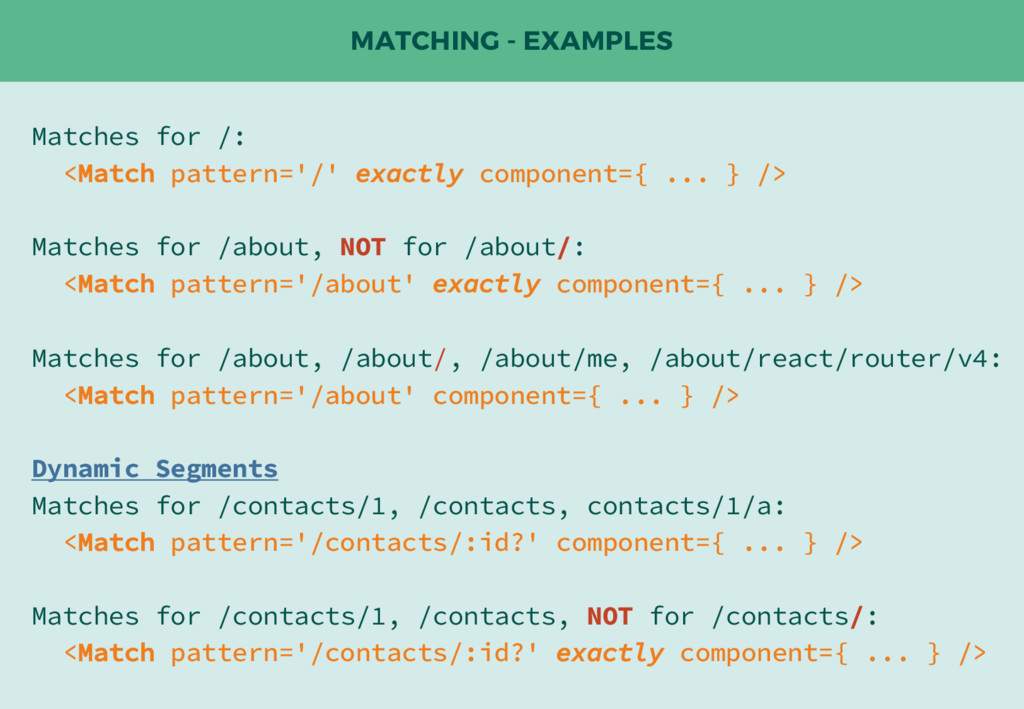 MATCHING - EXAMPLES Matches for /: <Match patte...
