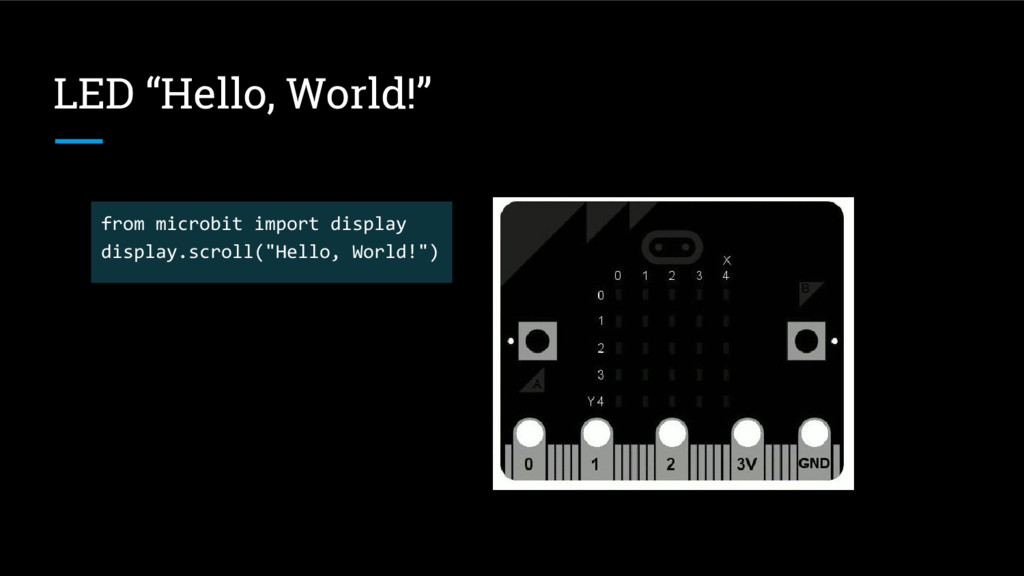 "LED ""Hello, World!"" from microbit import displa..."