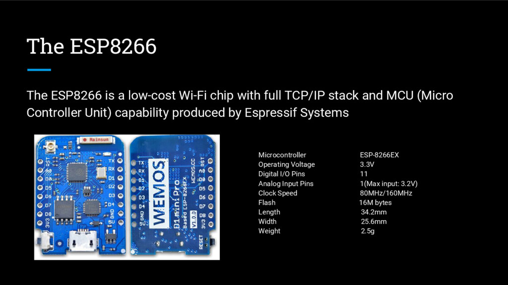 The ESP8266 The ESP8266 is a low-cost Wi-Fi chi...