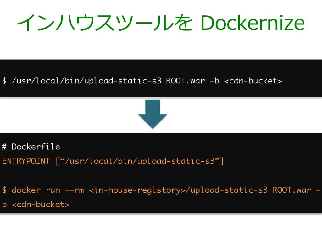 インハウスツールを Dockernize $ /usr/local/bin/upload-st...
