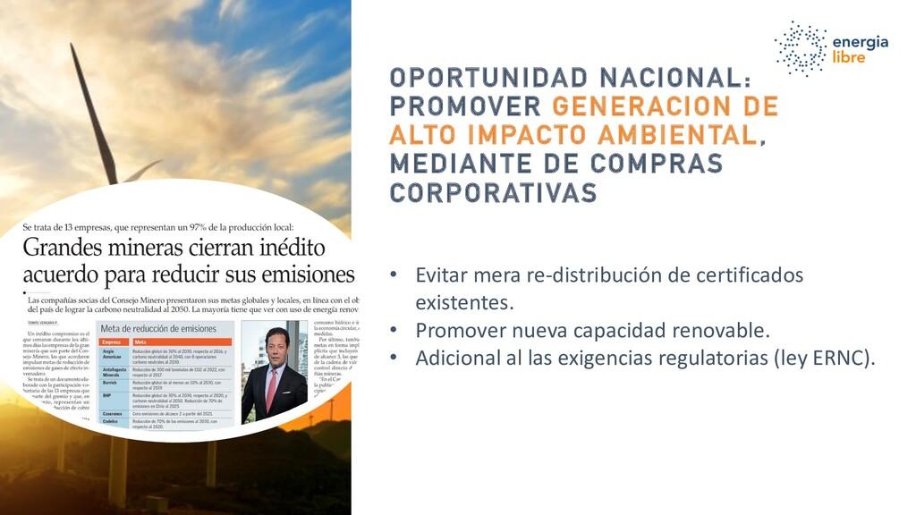 OPORTUNIDAD NACIONAL: PROMOVER GENERACION DE AL...