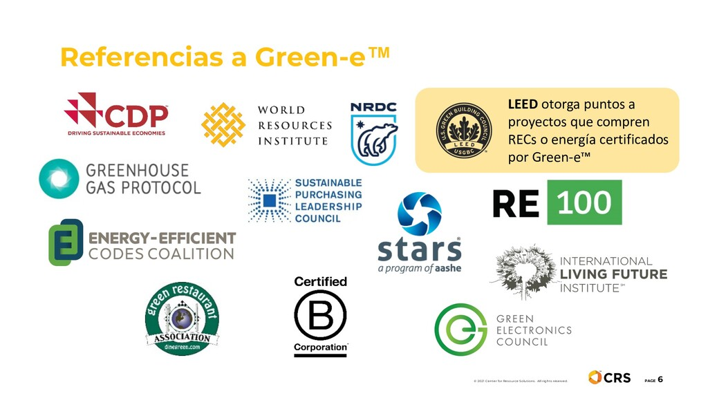 Referencias a Green-e™ PAGE 6 © 2021 Center for...