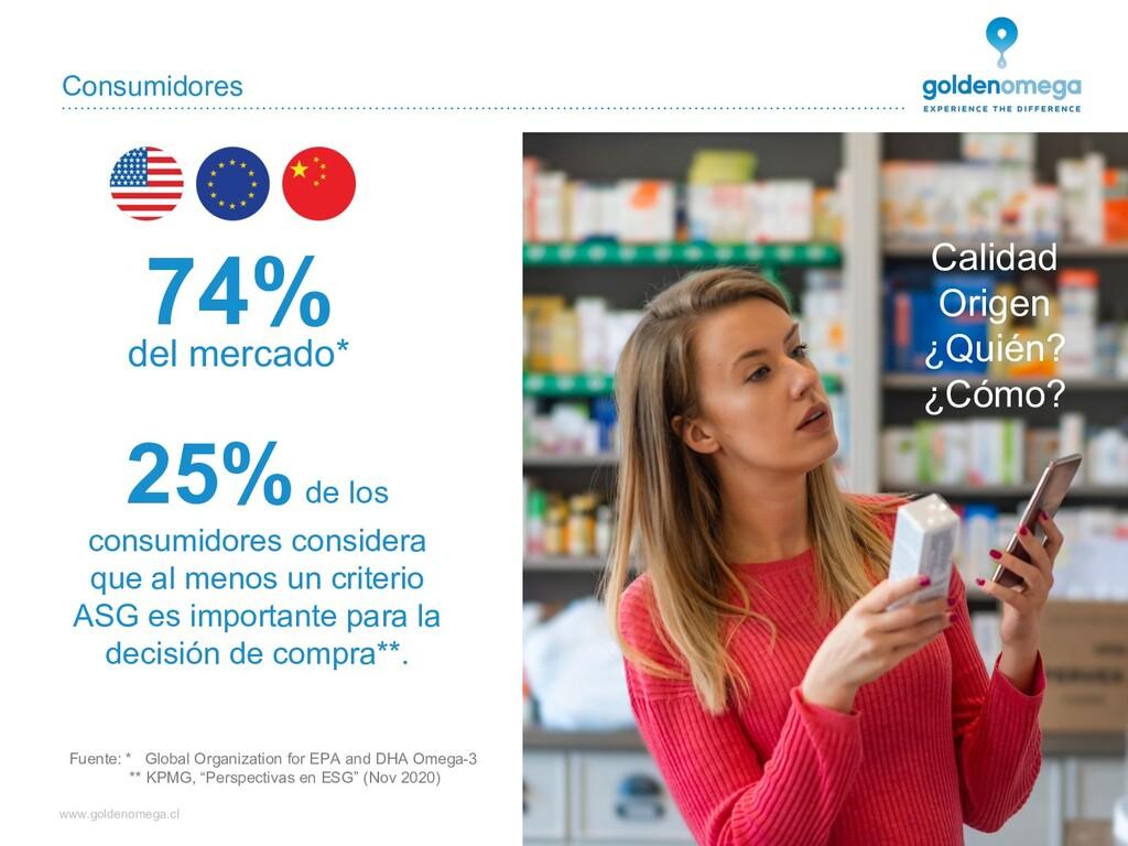 www.goldenomega.cl Consumidores Fuente: * Globa...