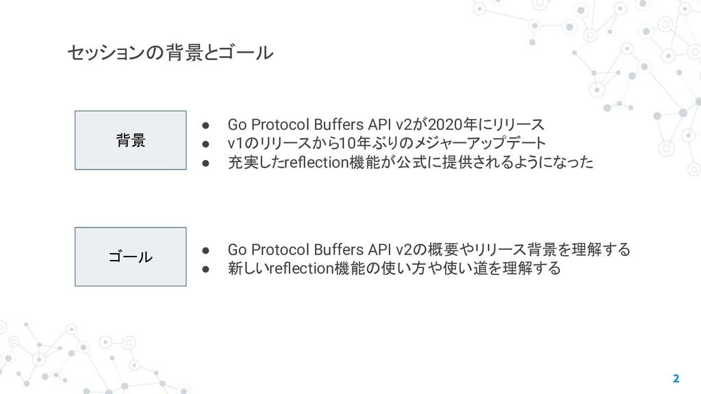 2 セッションの背景とゴール 背景 ゴール ● Go Protocol Buffers API...
