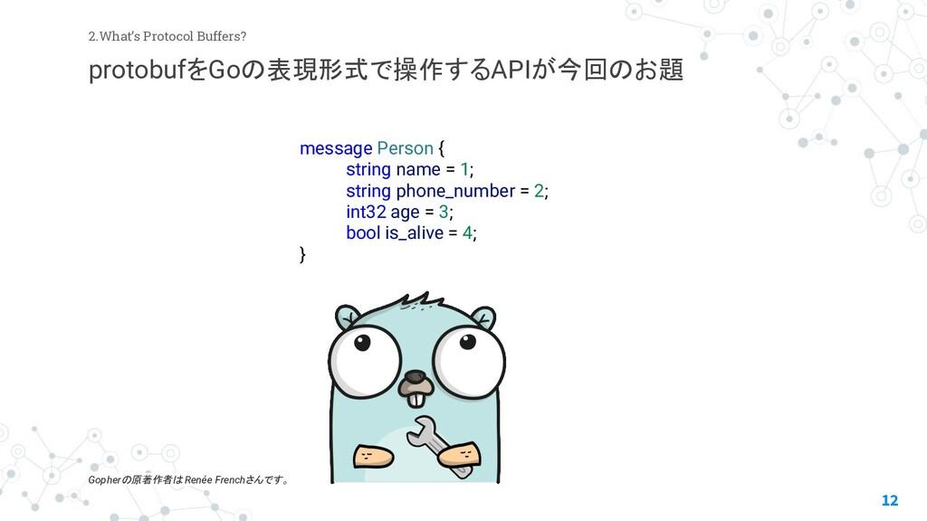 12 2.What's Protocol Buffers? protobufをGoの表現形式で...