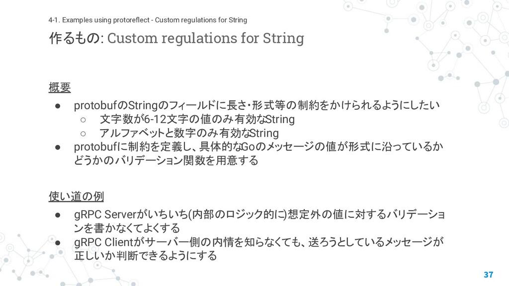 概要 ● protobufのStringのフィールドに長さ・形式等の制約をかけられるようにした...