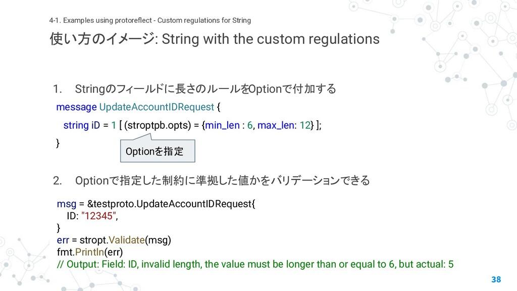 1. Stringのフィールドに長さのルールをOptionで付加する 2. Optionで指定...