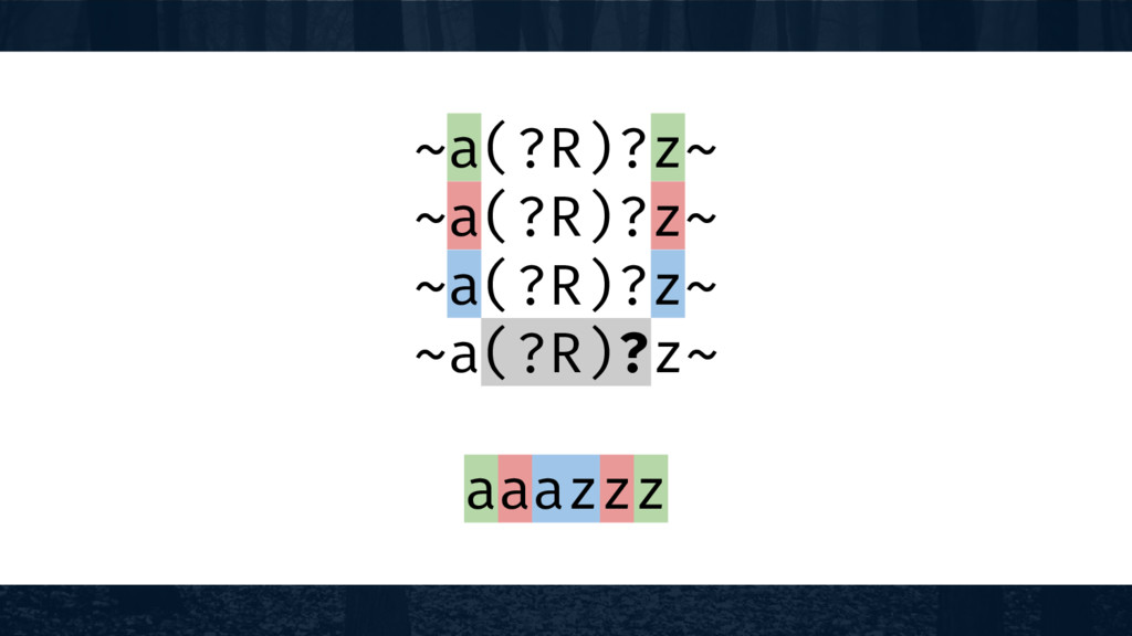 ~a(?R)?z~ ~a(?R)?z~ ~a(?R)?z~ ~a(?R)?z~ aaazzz