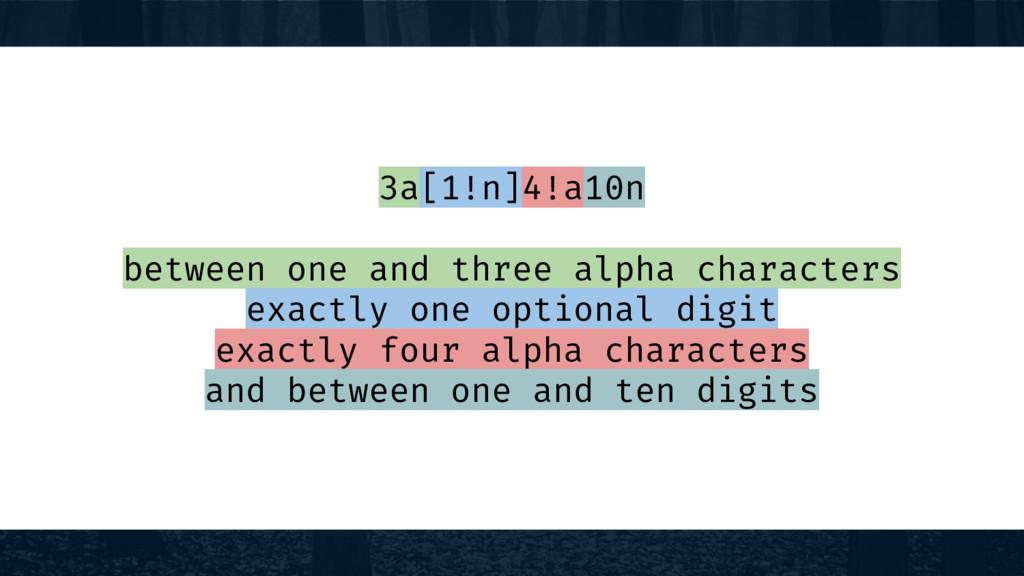 3a[1!n]4!a10n between one and three alpha chara...
