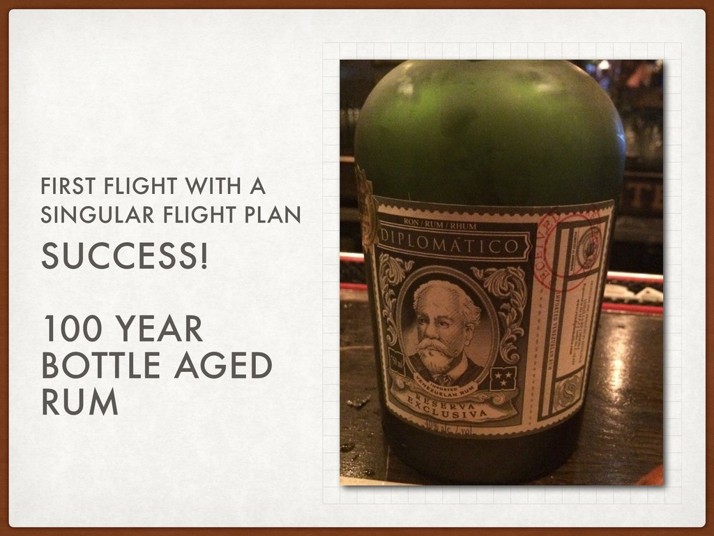 SUCCESS! 100 YEAR BOTTLE AGED RUM FIRST FLIGHT ...