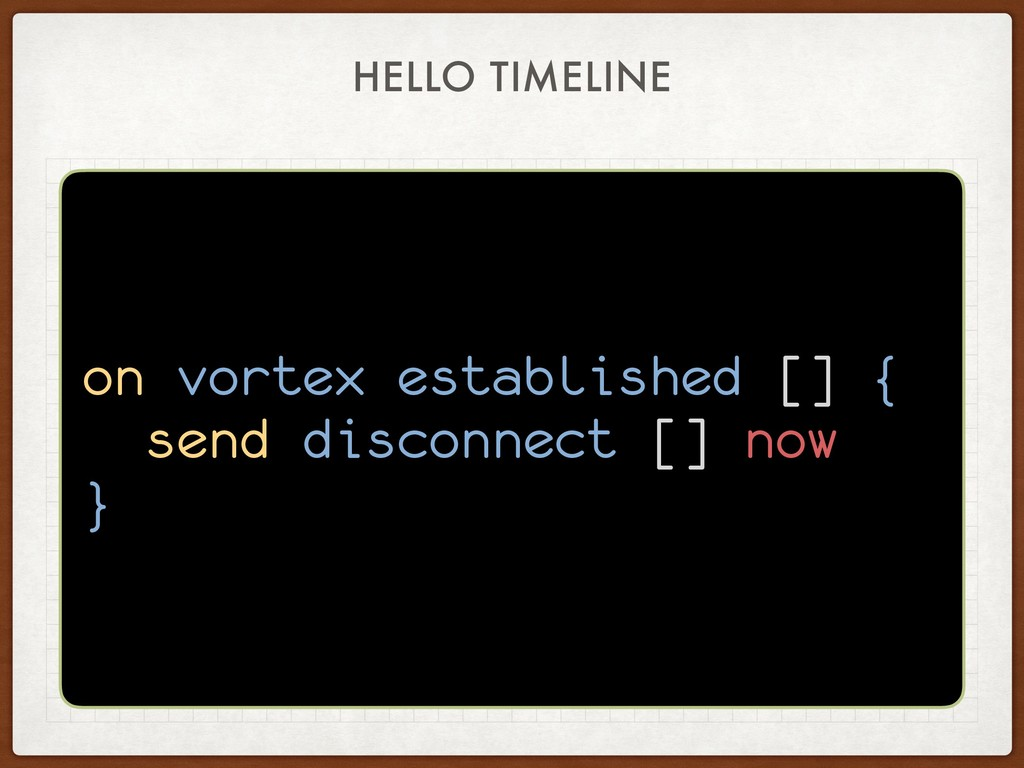 HELLO TIMELINE on vortex established [] { send ...