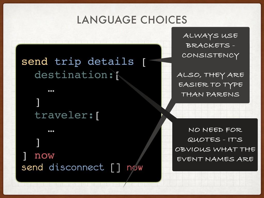 LANGUAGE CHOICES send trip details [ destinatio...