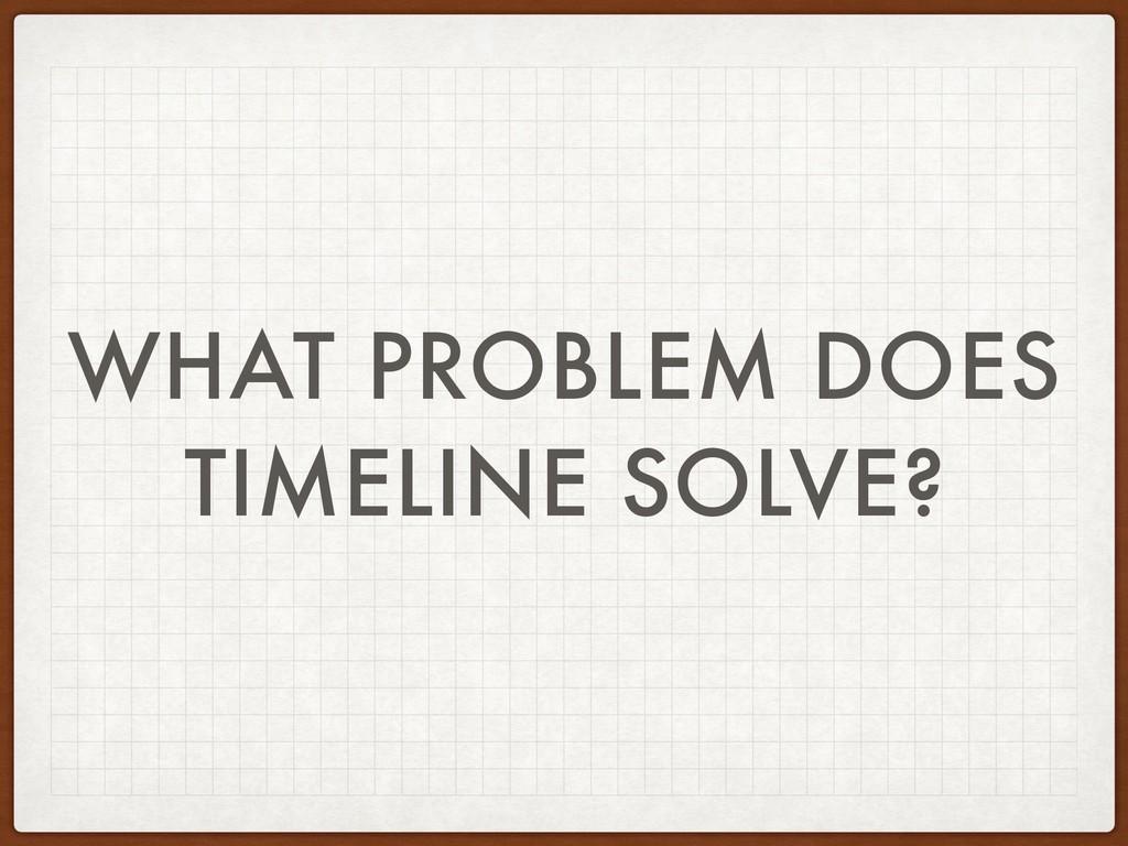 WHAT PROBLEM DOES TIMELINE SOLVE?