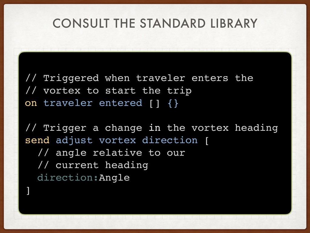 CONSULT THE STANDARD LIBRARY // Triggered when ...