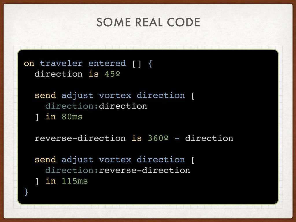 SOME REAL CODE on traveler entered [] { directi...