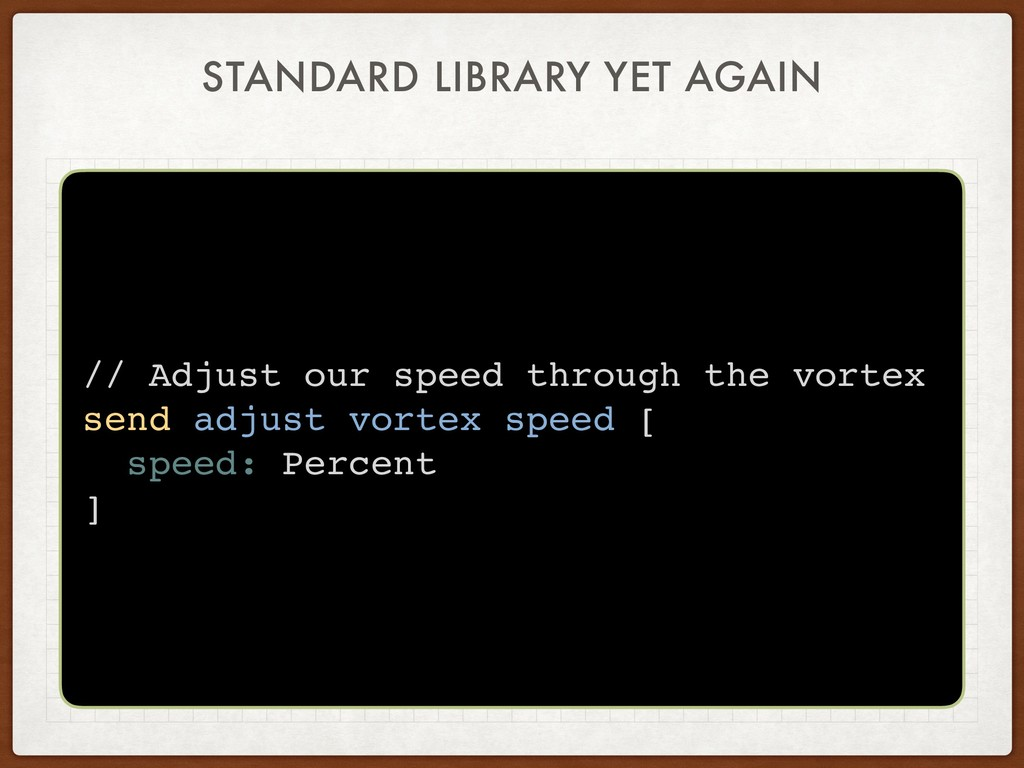 STANDARD LIBRARY YET AGAIN // Adjust our speed ...