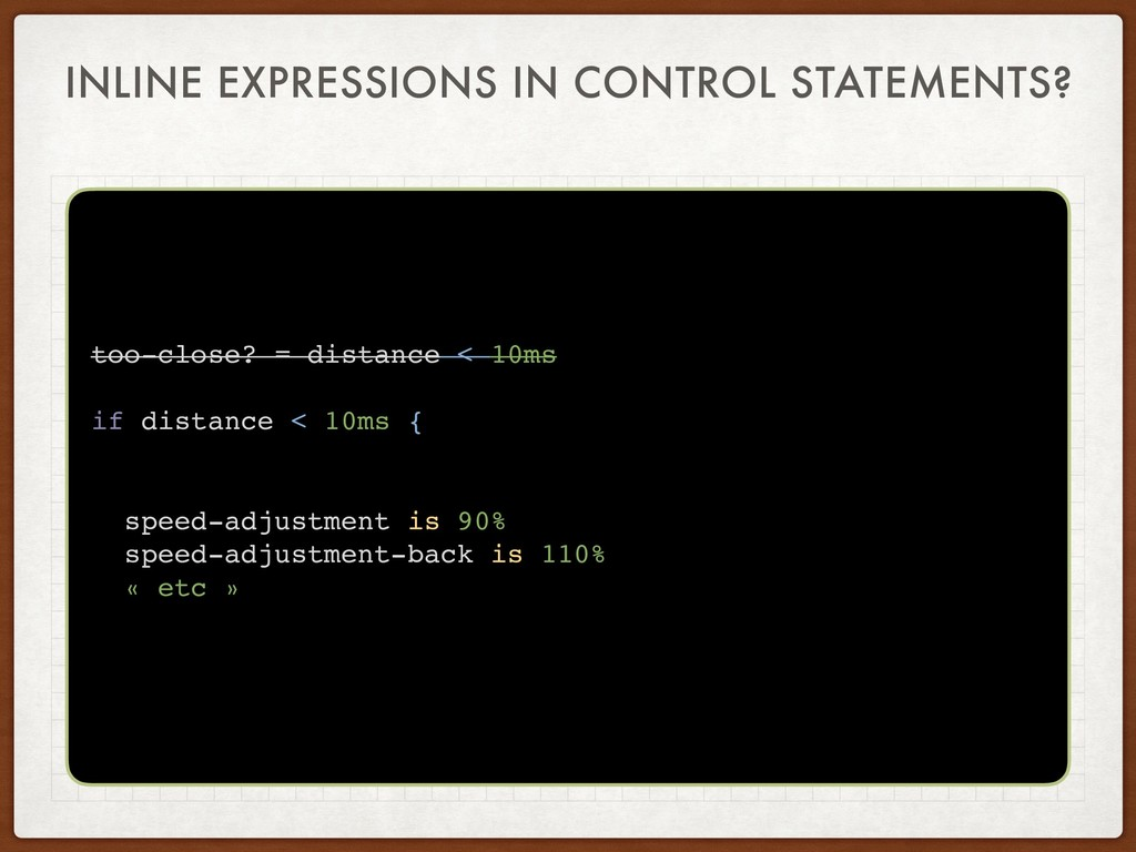 INLINE EXPRESSIONS IN CONTROL STATEMENTS? too-c...