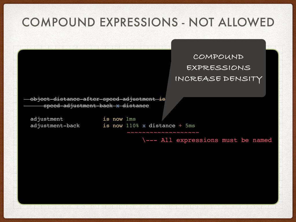 COMPOUND EXPRESSIONS - NOT ALLOWED object-dista...