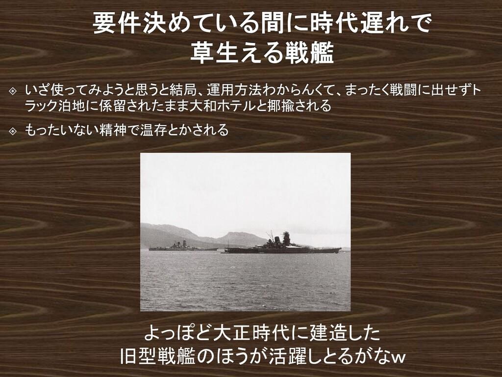 よっぽど大正時代に建造した 旧型戦艦のほうが活躍しとるがなw