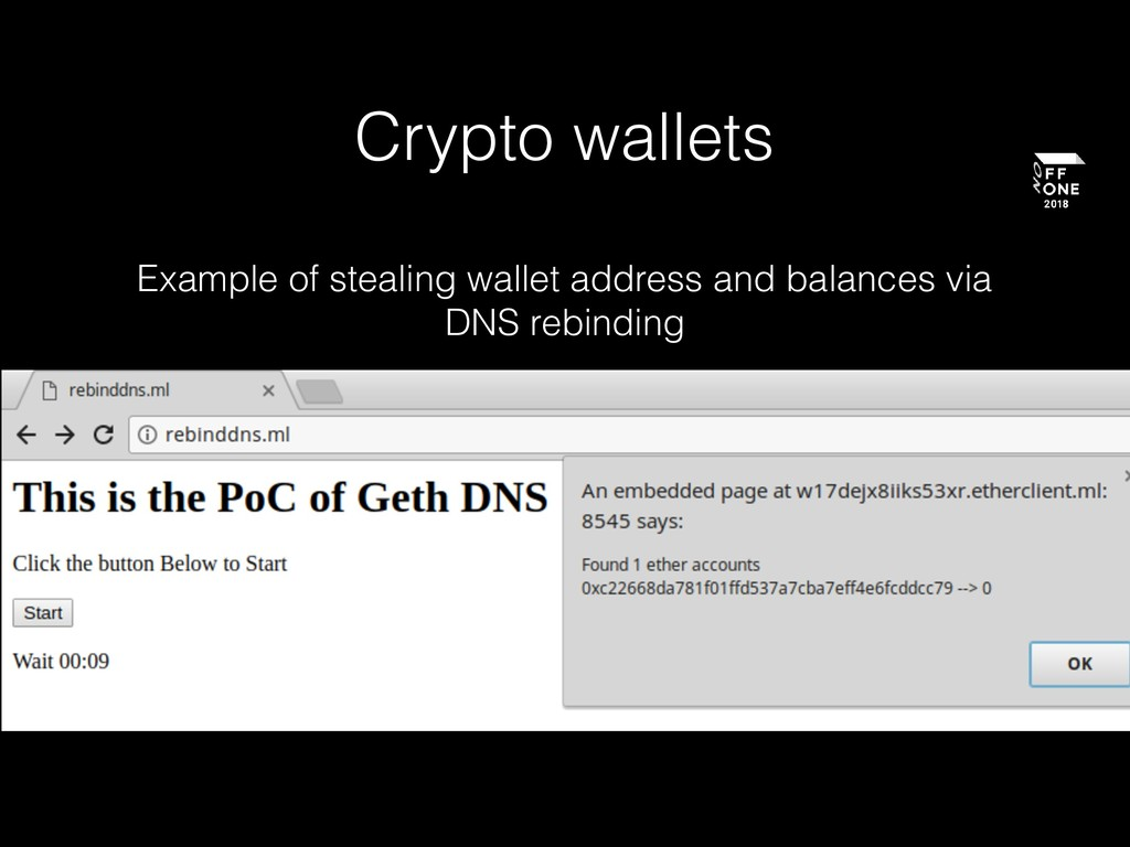 Crypto wallets Example of stealing wallet addre...