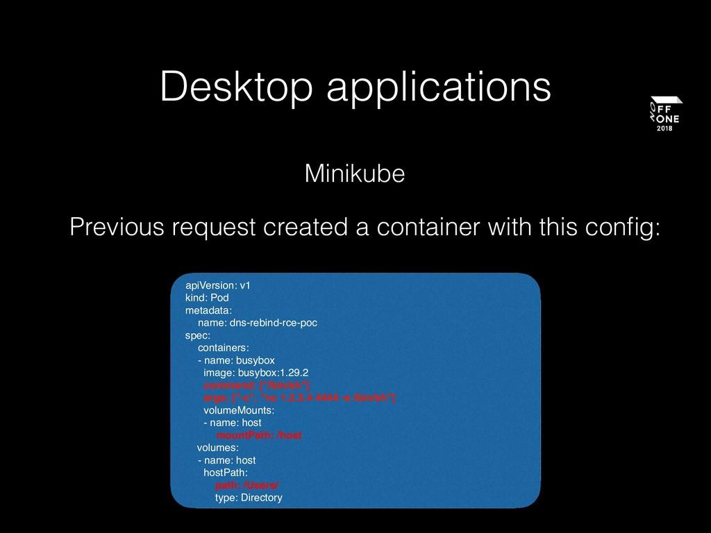 Desktop applications Previous request created a...