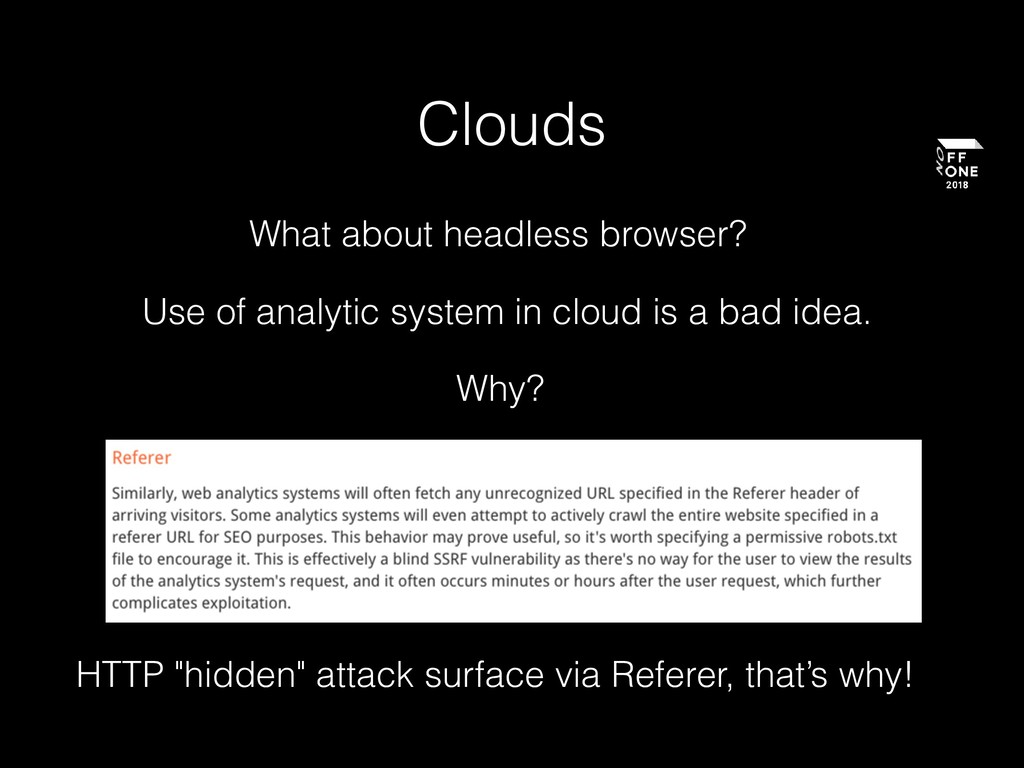 """Clouds What about headless browser? HTTP """"hidde..."""