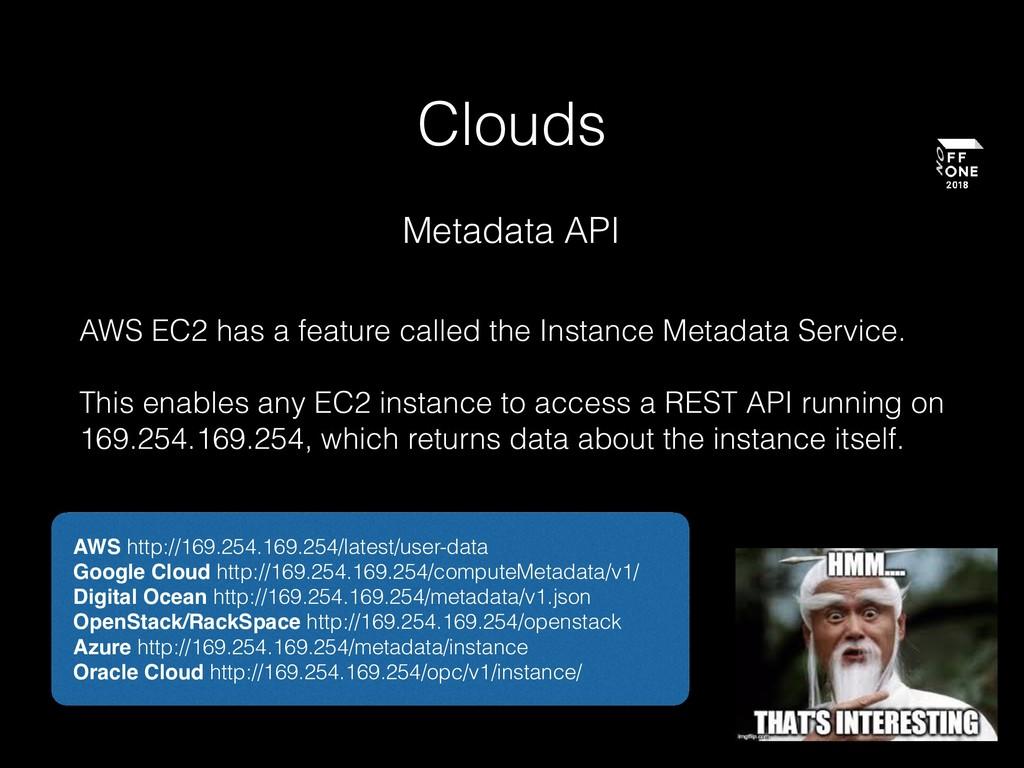 Clouds Metadata API AWS EC2 has a feature calle...