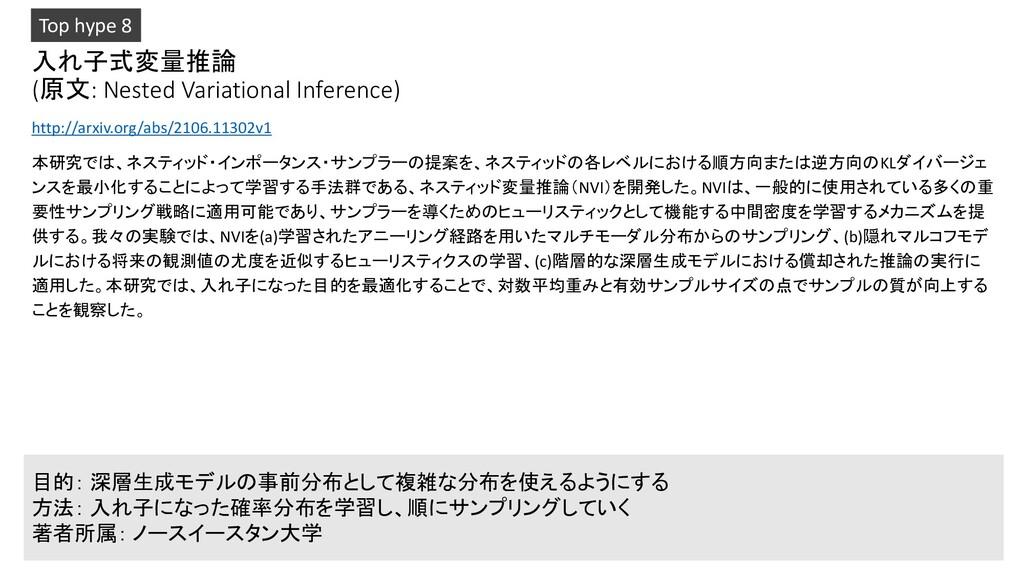 入れ子式変量推論 (原文: Nested Variational Inference) htt...
