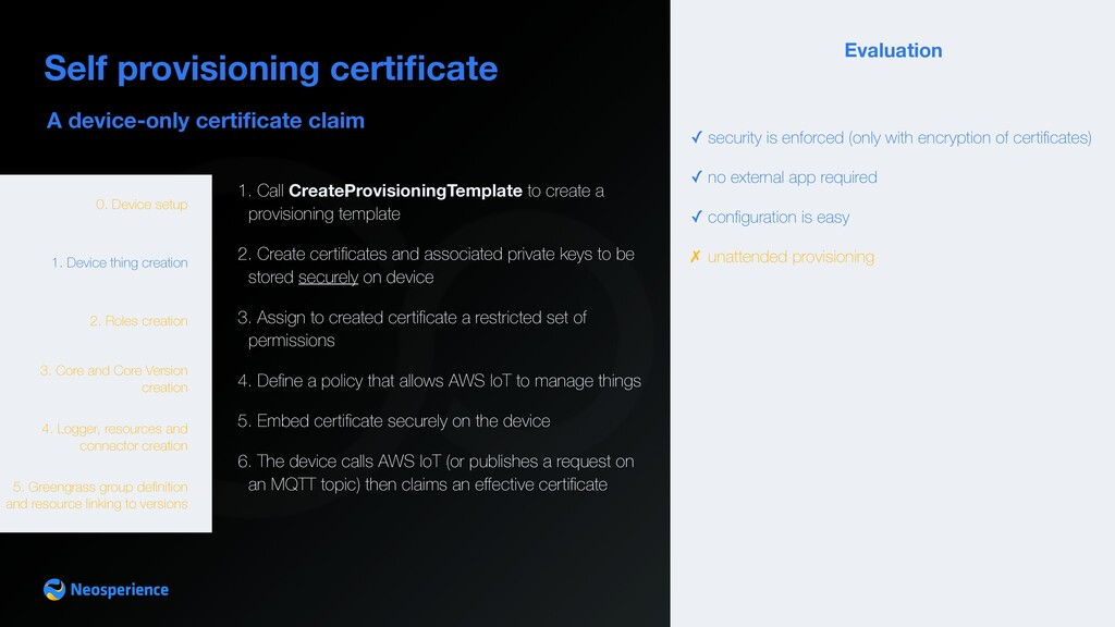A device-only certificate claim Self provisionin...