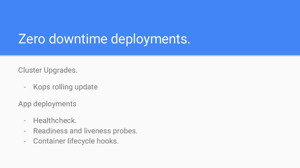 Zero downtime deployments. Cluster Upgrades. - ...