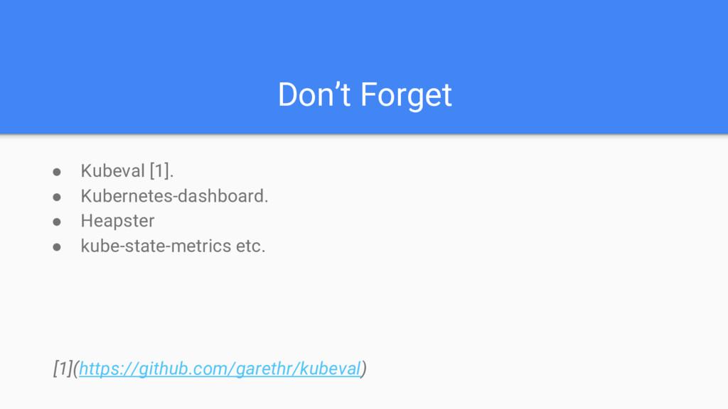 Don't Forget ● Kubeval [1]. ● Kubernetes-dashbo...