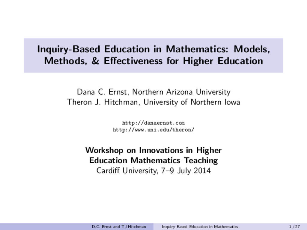 Inquiry-Based Education in Mathematics: Models,...