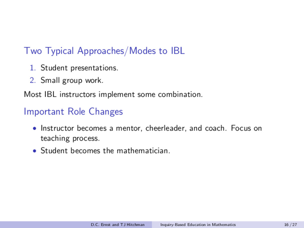 Two Typical Approaches/Modes to IBL 1. Student ...