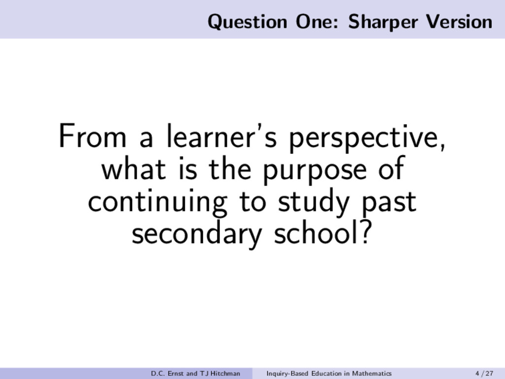 Question One: Sharper Version From a learner's ...