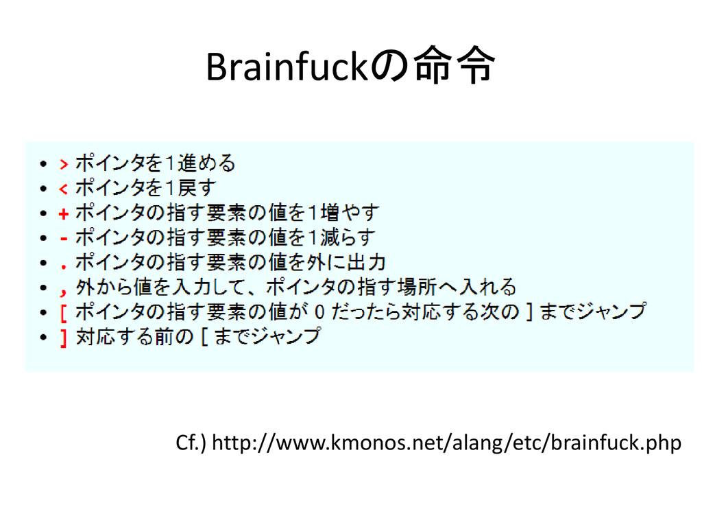 Brainfuckの命令 Cf.) http://www.kmonos.net/alang/e...