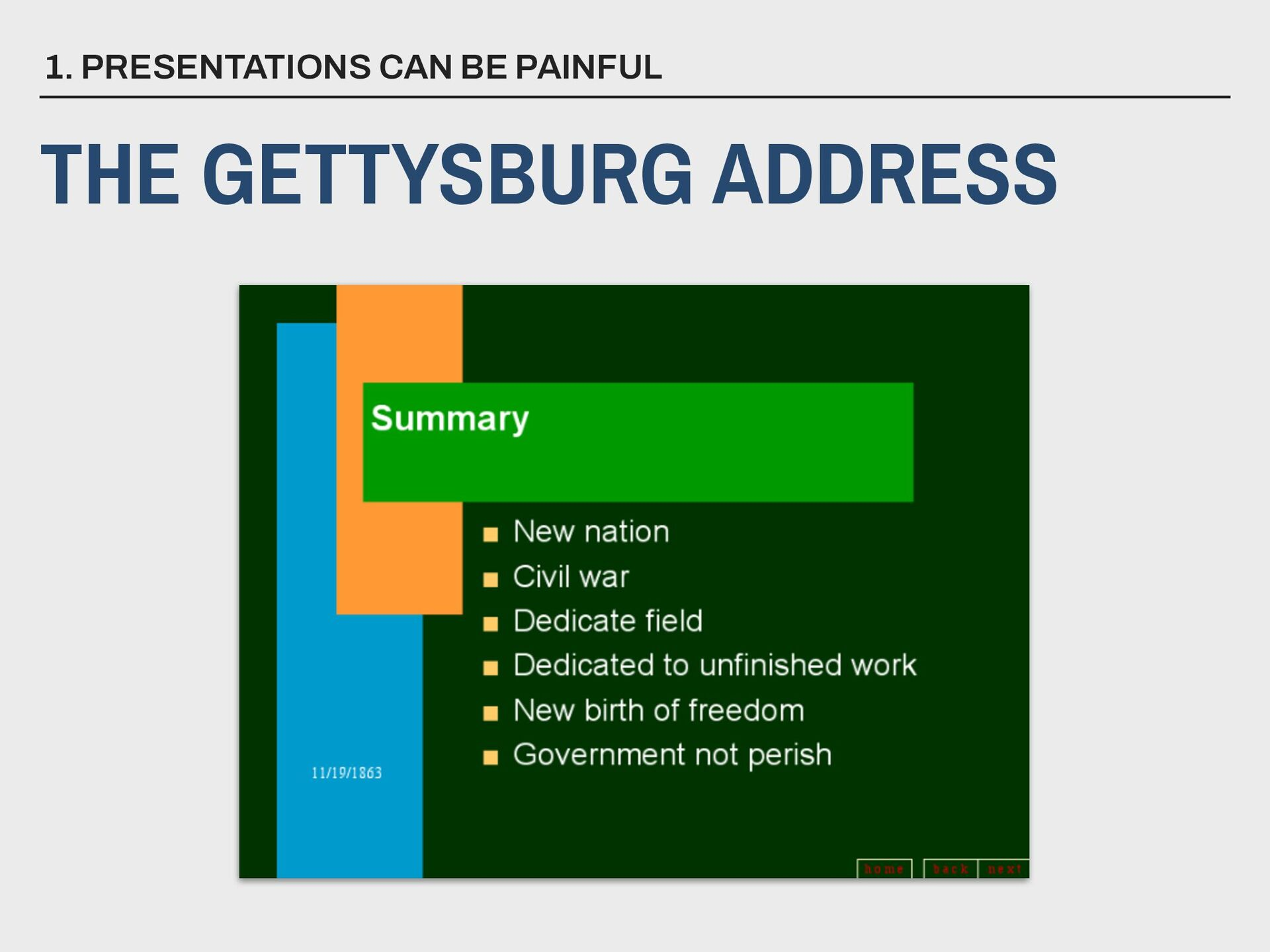 1. PRESENTATIONS CAN BE PAINFUL THE GETTYSBURG ...