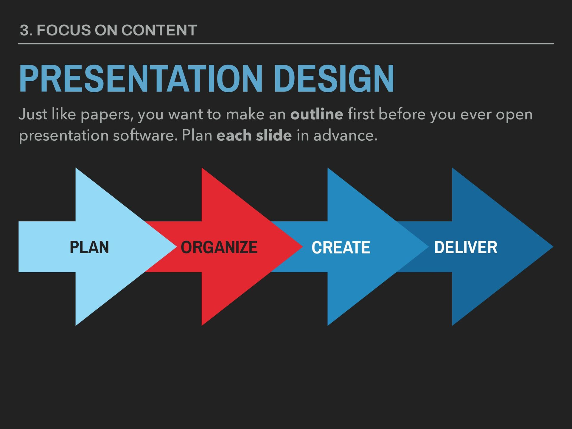 3. FOCUS ON CONTENT PRESENTATION DESIGN Just li...