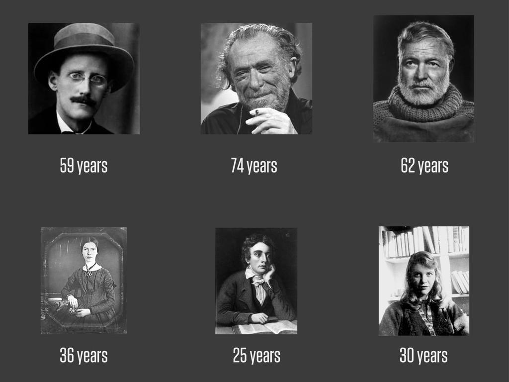 74 years 59 years 62 years 36 years 25 years 30...