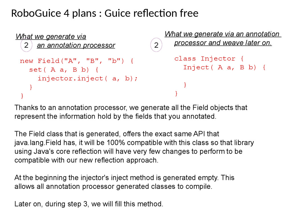RoboGuice 4 plans : Guice refecton free What we...