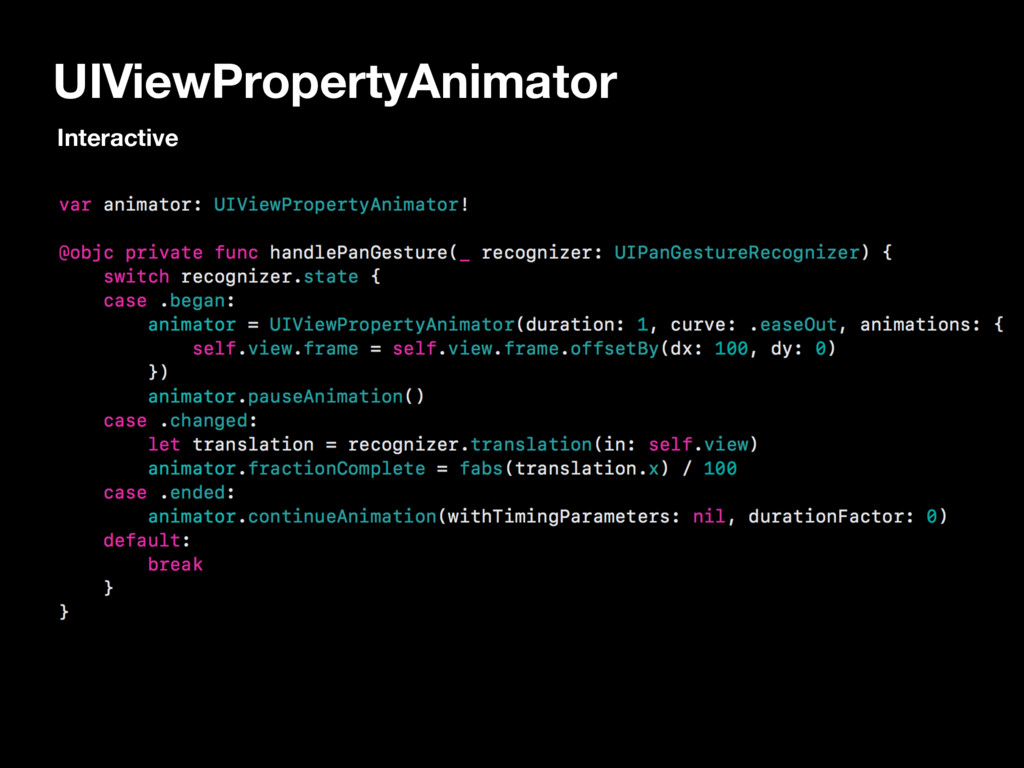 UIViewPropertyAnimator Interactive
