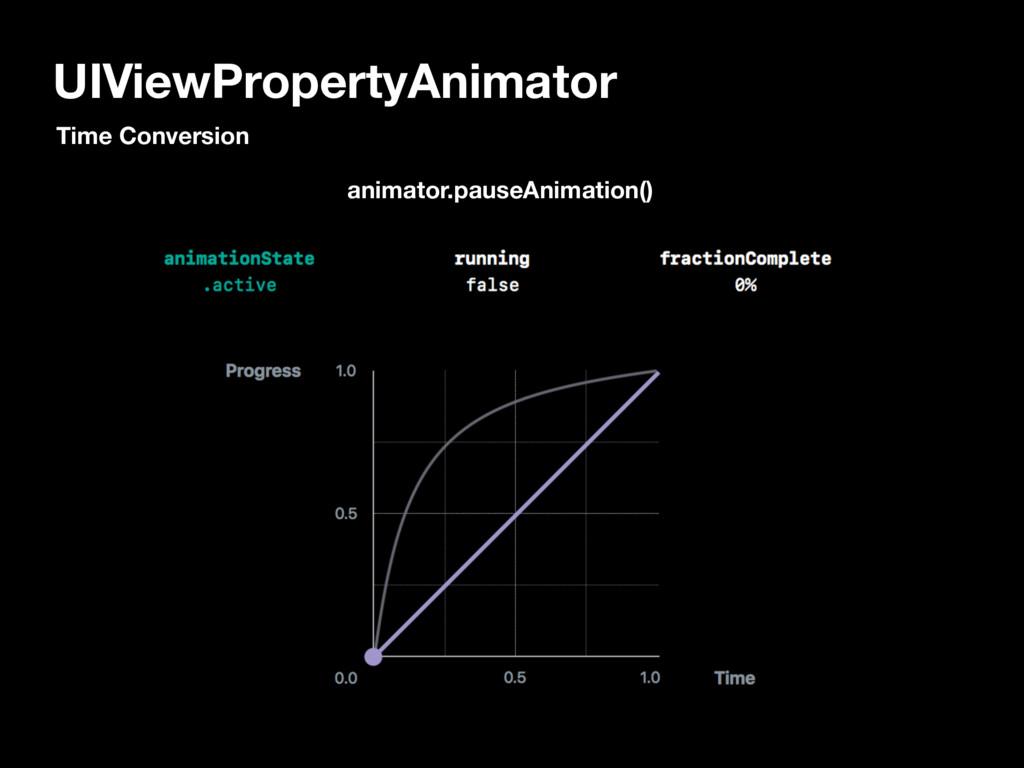 UIViewPropertyAnimator animator.pauseAnimation(...