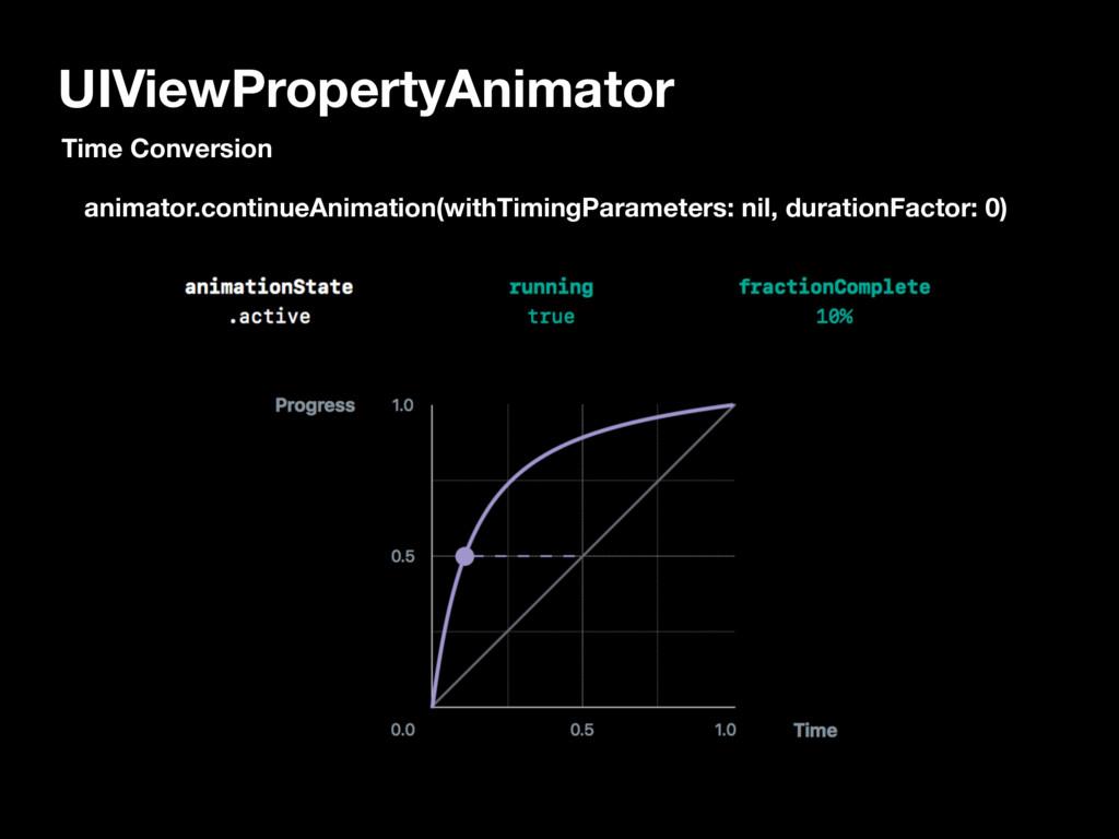 UIViewPropertyAnimator animator.continueAnimati...
