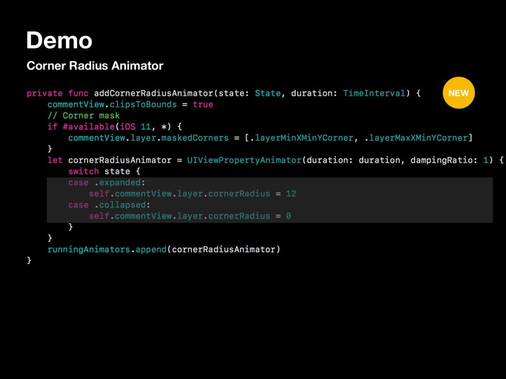 Demo Corner Radius Animator NEW