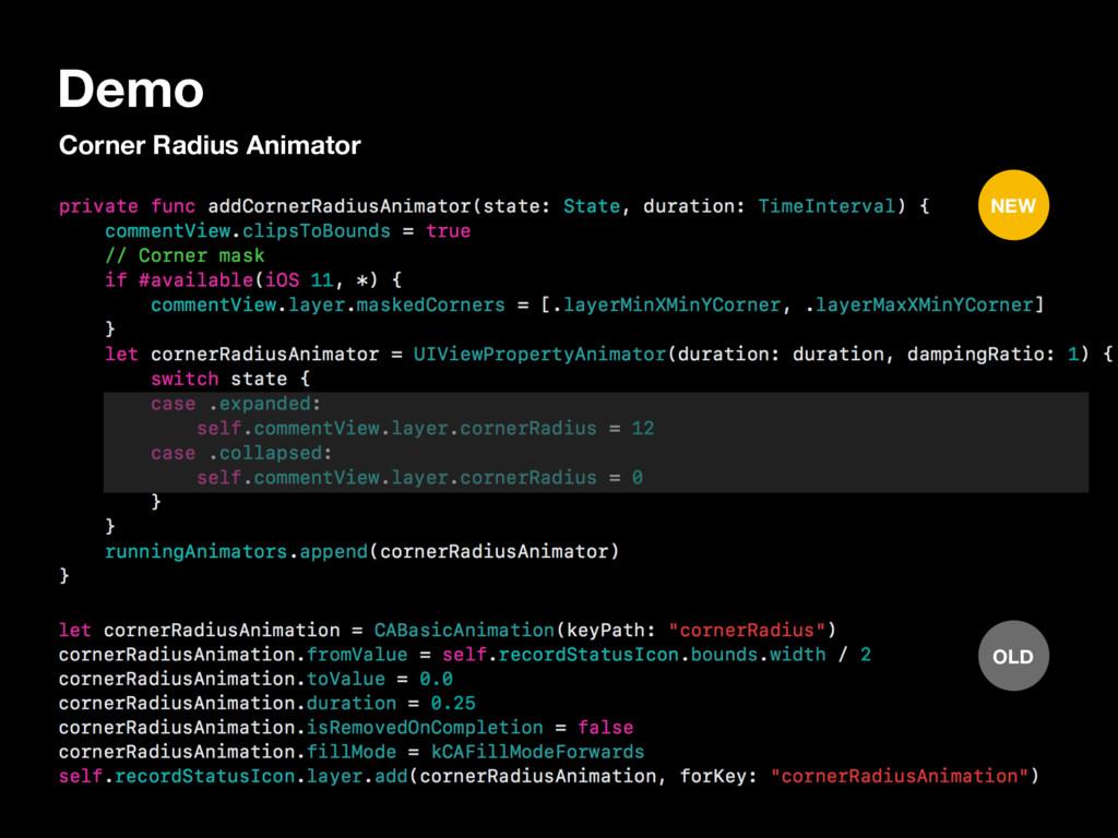 Demo Corner Radius Animator OLD NEW