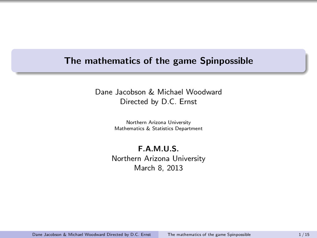 The mathematics of the game Spinpossible Dane J...